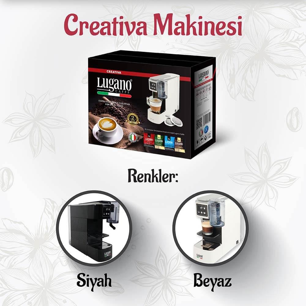 Lugano Caffé Creativa Kahve Makinesi Siyah ve Beyaz Renkleri